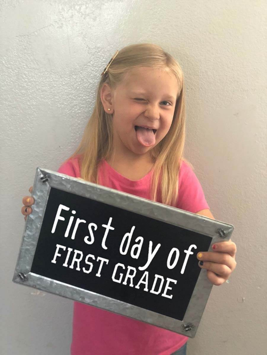 First Day of First Grade sign for back-to-school from Cricut Design Space