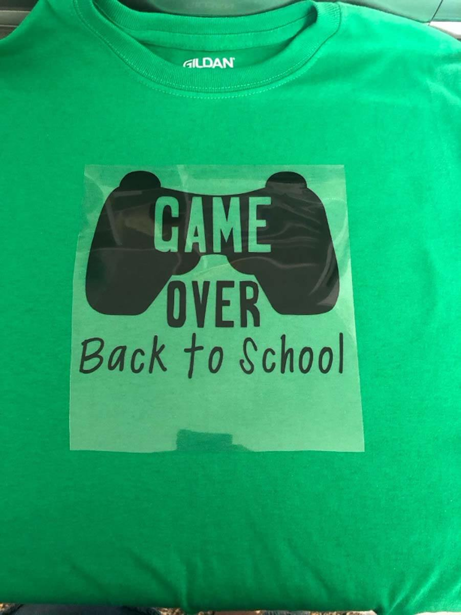 Game Over Back-to-School T-shirt made with a Cricut machine and Everyday Iron-On