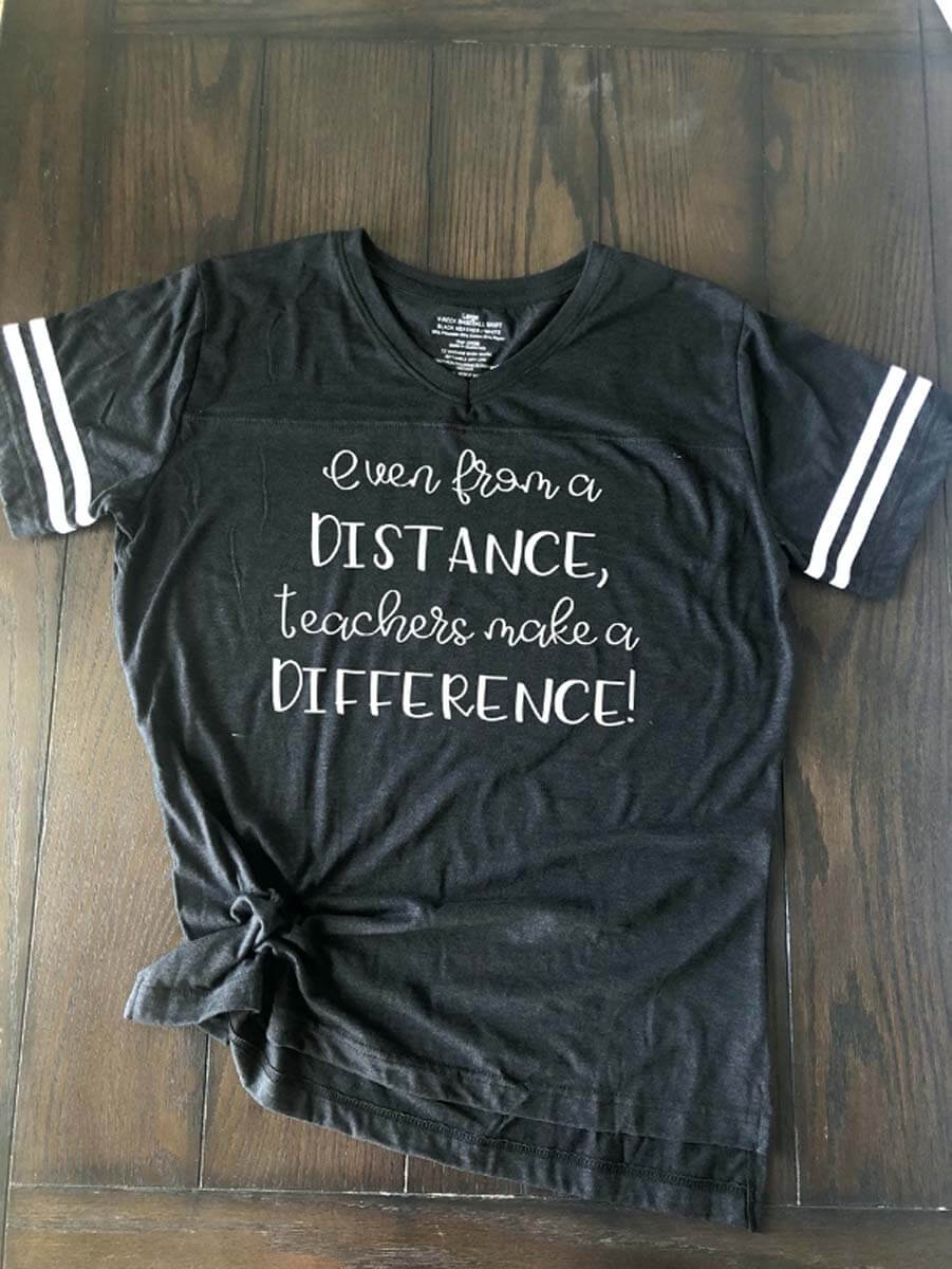 Teachers Make a Difference T-shirt for back-to-school from Cricut Design Space