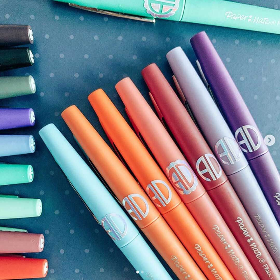 Monogrammed pens created with a Cricut machine