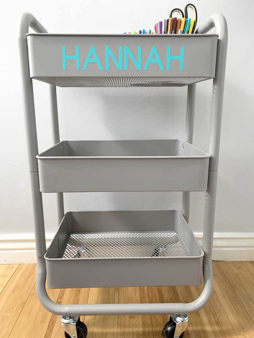 Personalized school-at-home cart using a Cricut machine and vinyl