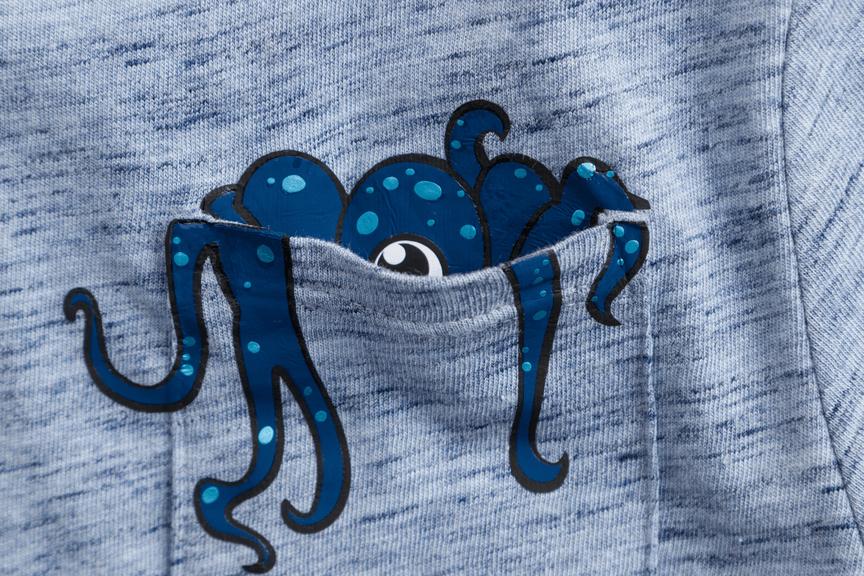 Cricut projects, octopus design on T-shirt pocket
