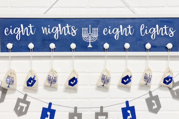 Hanukkah banner created with Cricut machine
