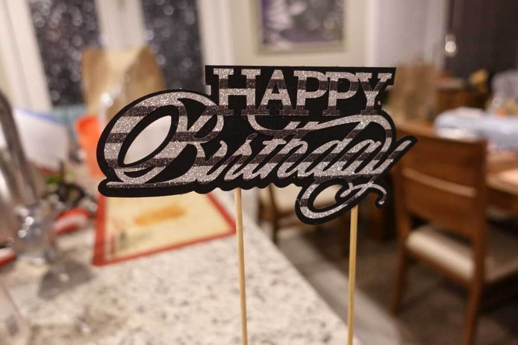 Black and white Happy Birthday cake topper