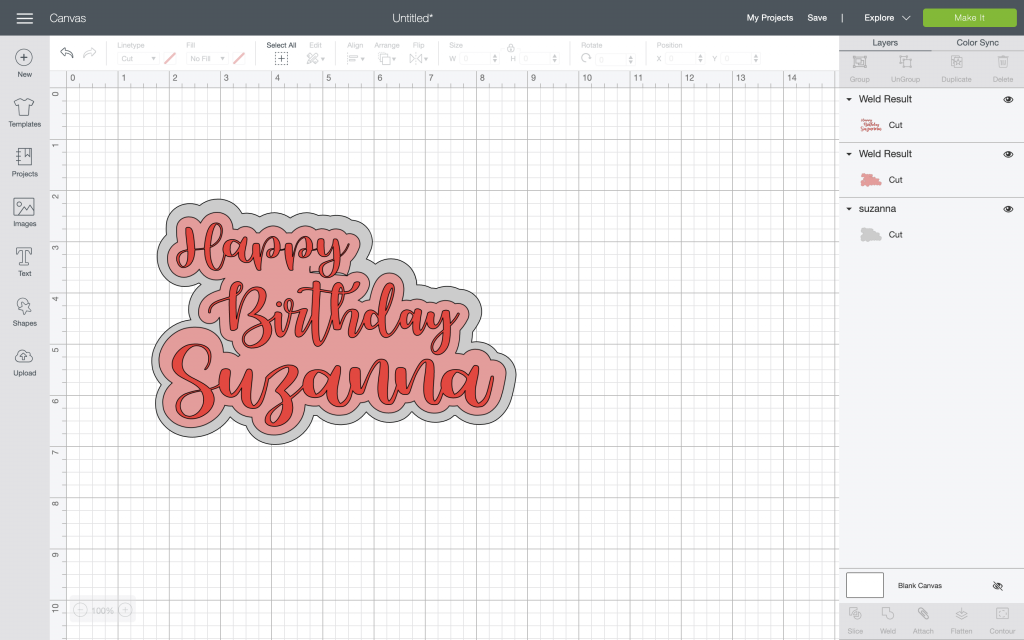 happy birthday suzanna image in Design Space