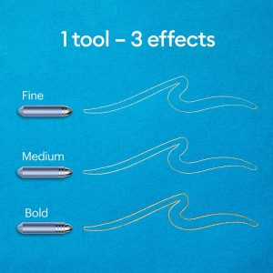 The Cricut Foil Transfer Tool comes with three different sized tips: fine, medium, and bold