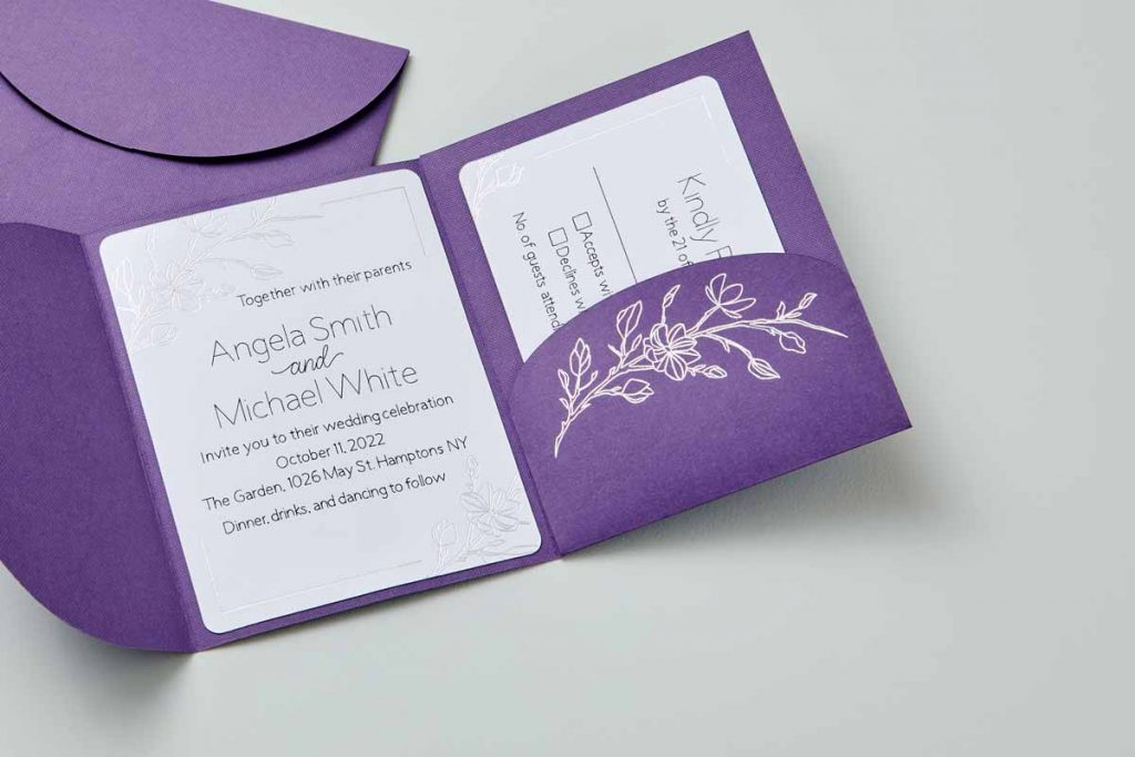 Wedding invitation with foil effects created with a Cricut and the Cricut Foil Transfer Tool