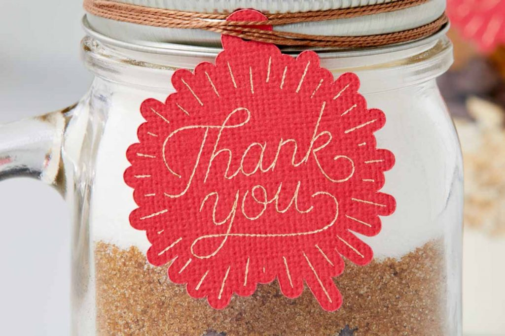 Thank you gift tag with foil effects created with a Cricut and the Cricut Foil Transfer Tool