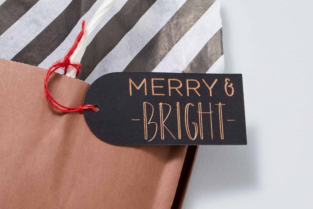Merry and Bright Tag with foil accents created with a Cricut and the Cricut Foil Transfer Tool