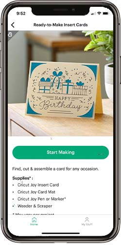 Cricut Joy app Insert Card feature