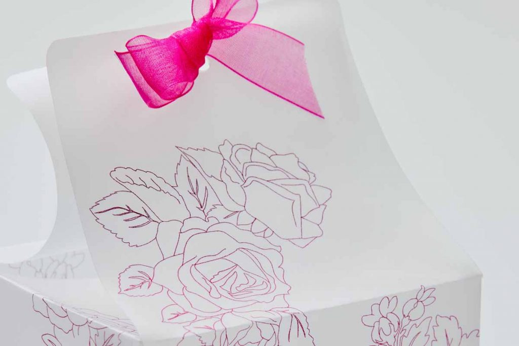 Vellum box with foil accents created with a Cricut and the Cricut Foil Transfer Tool.