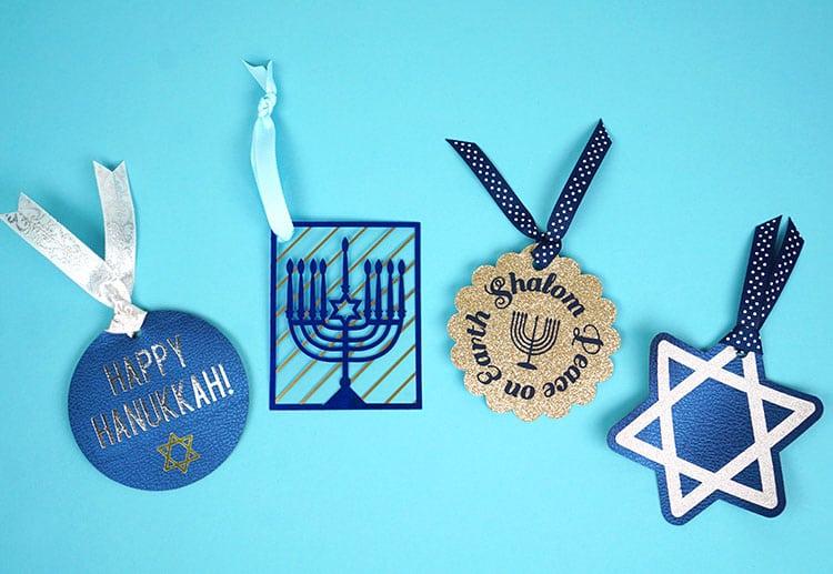 Hanukkah gift tags created with Cricut machine