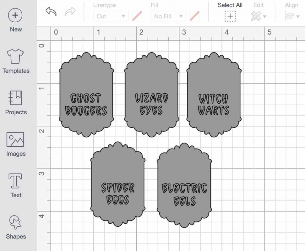 making ingredient labels in Cricut Design Space