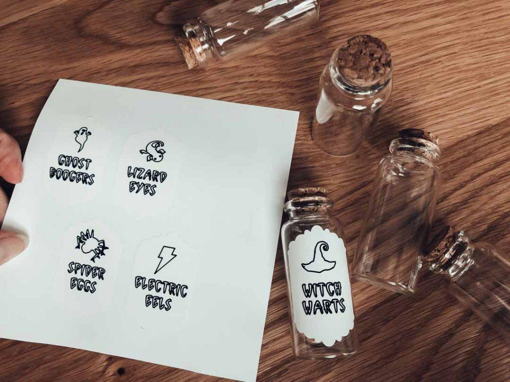Smart Label Writable Vinyl on mini potion bottles using Cricut Joy