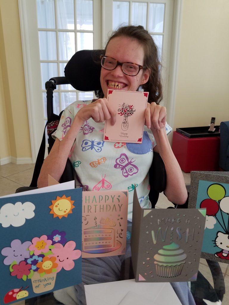 Megan made custom cards with her Cricut machine for a senior living facility