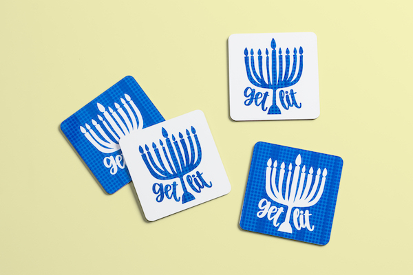 Personalized Hanukkah coasters made with Infusible Ink and Cricut machine