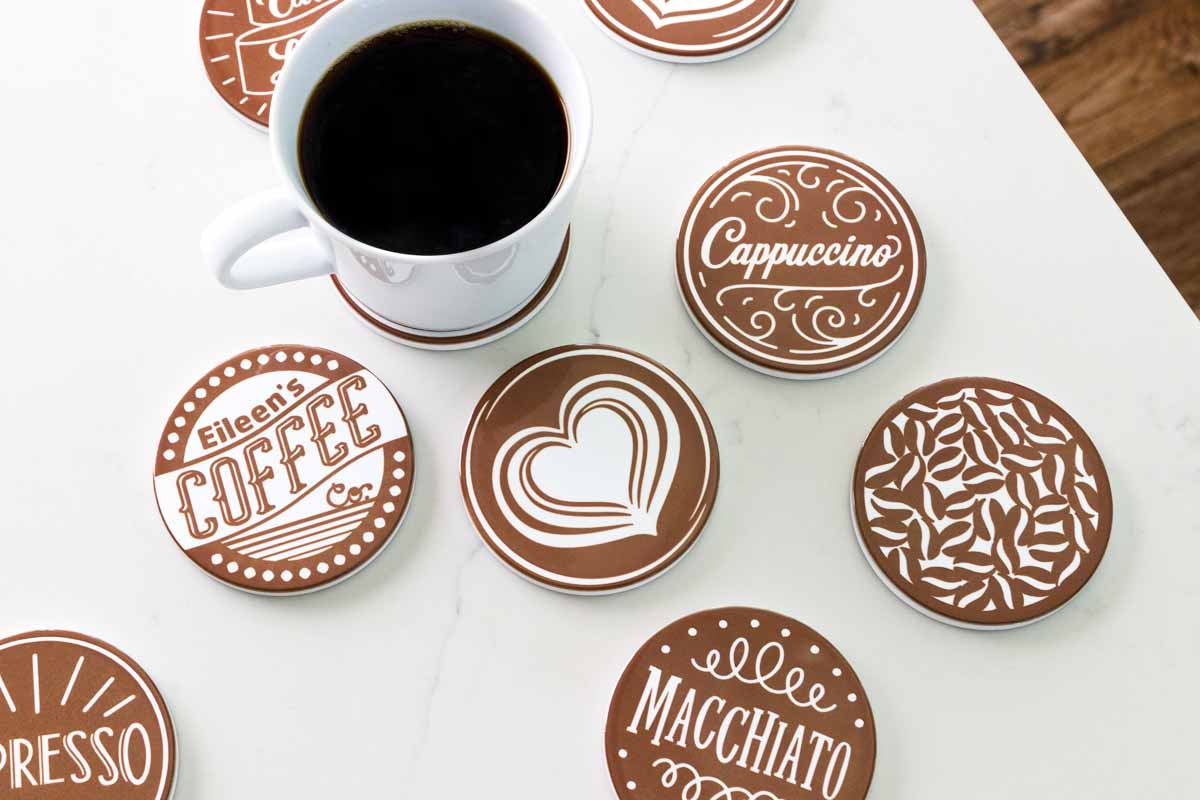 Set of coffee themed coasters.