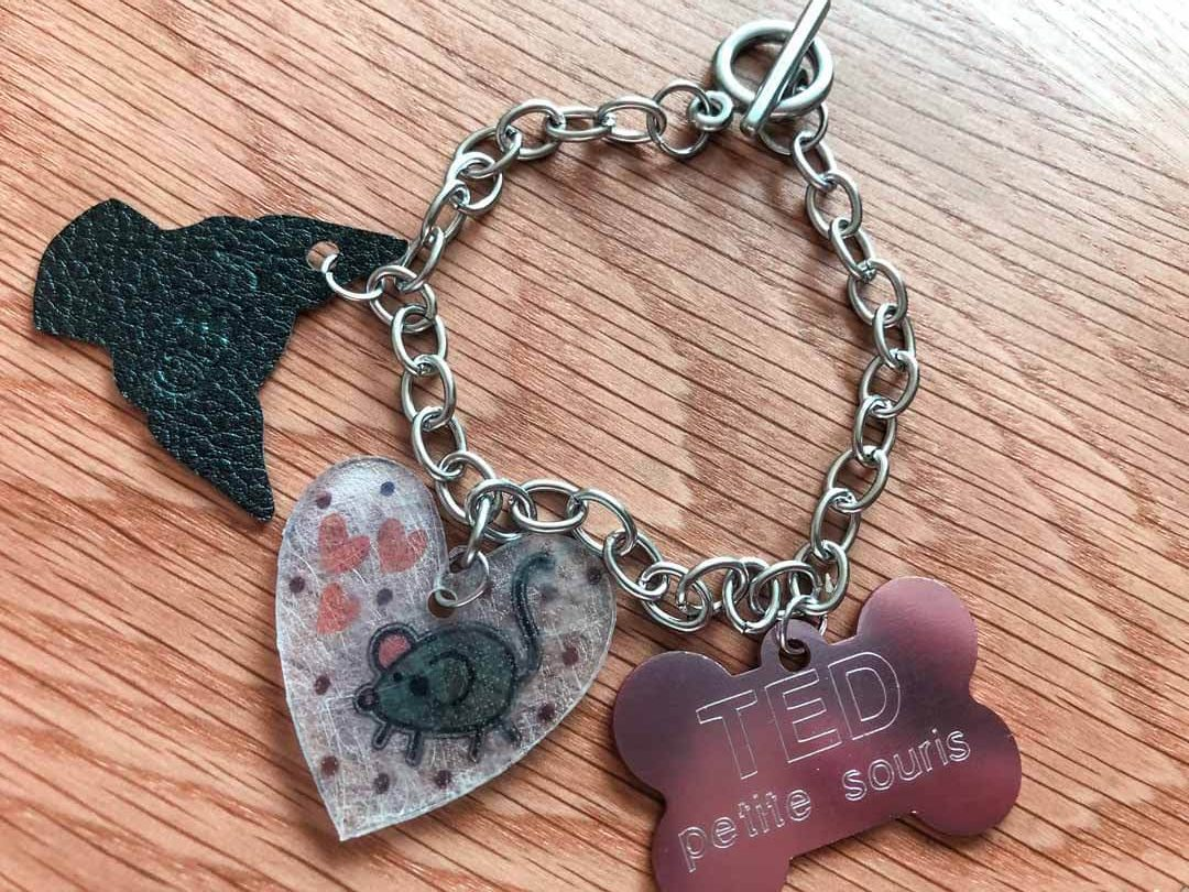 Cricut Maker charm bracelet with personalized charms