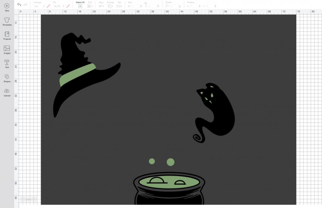Cricut Design Space with Halloween window silhouette images