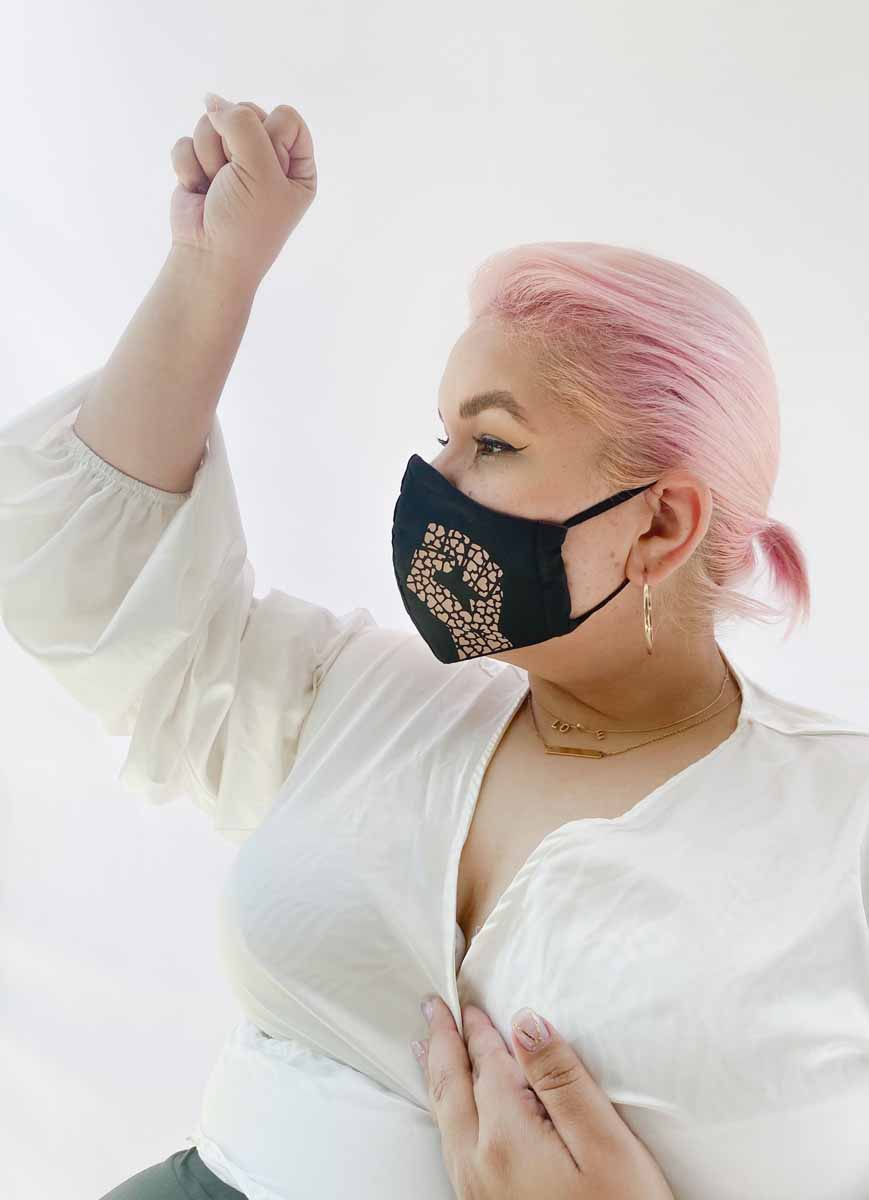 Ashley Nell Tipton - Fists with hearts face mask