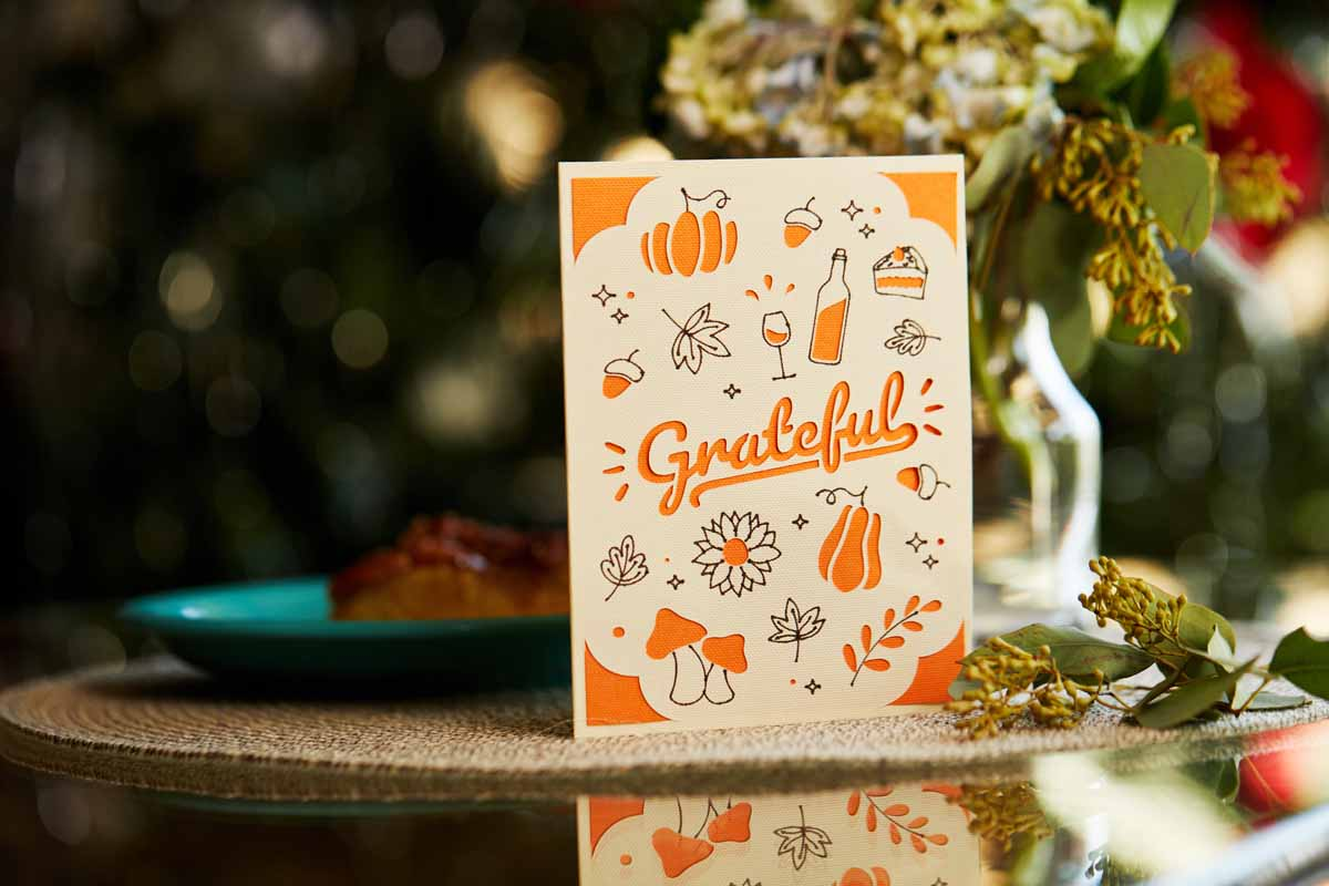 Grateful greeting card from Zooey Deschanel and Cricut