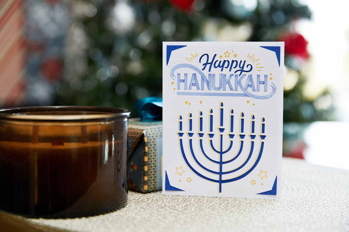 Happy Hanukkah greeting card from Zooey Deschanel and Cricut