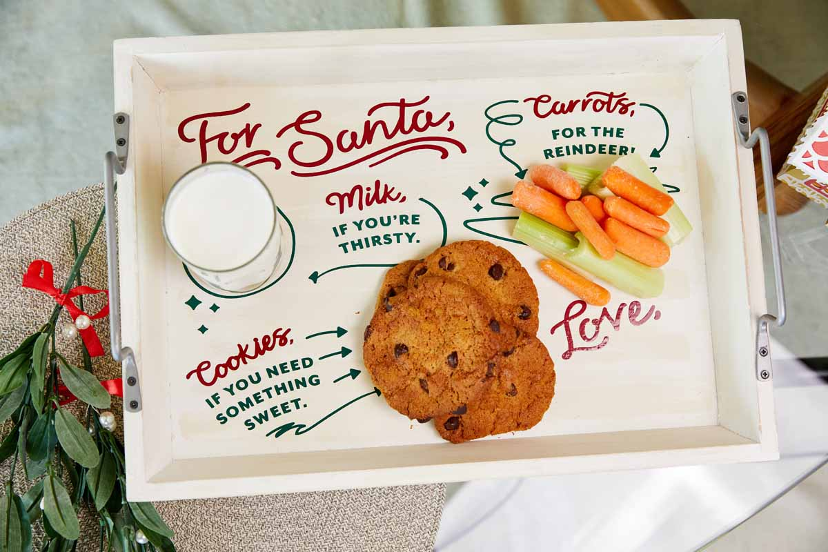 DIY holiday Santa tray  from Zooey Deschanel and Cricut