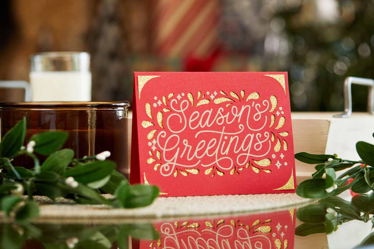 Seasons Greetings card from Zooey Deschanel and Cricut