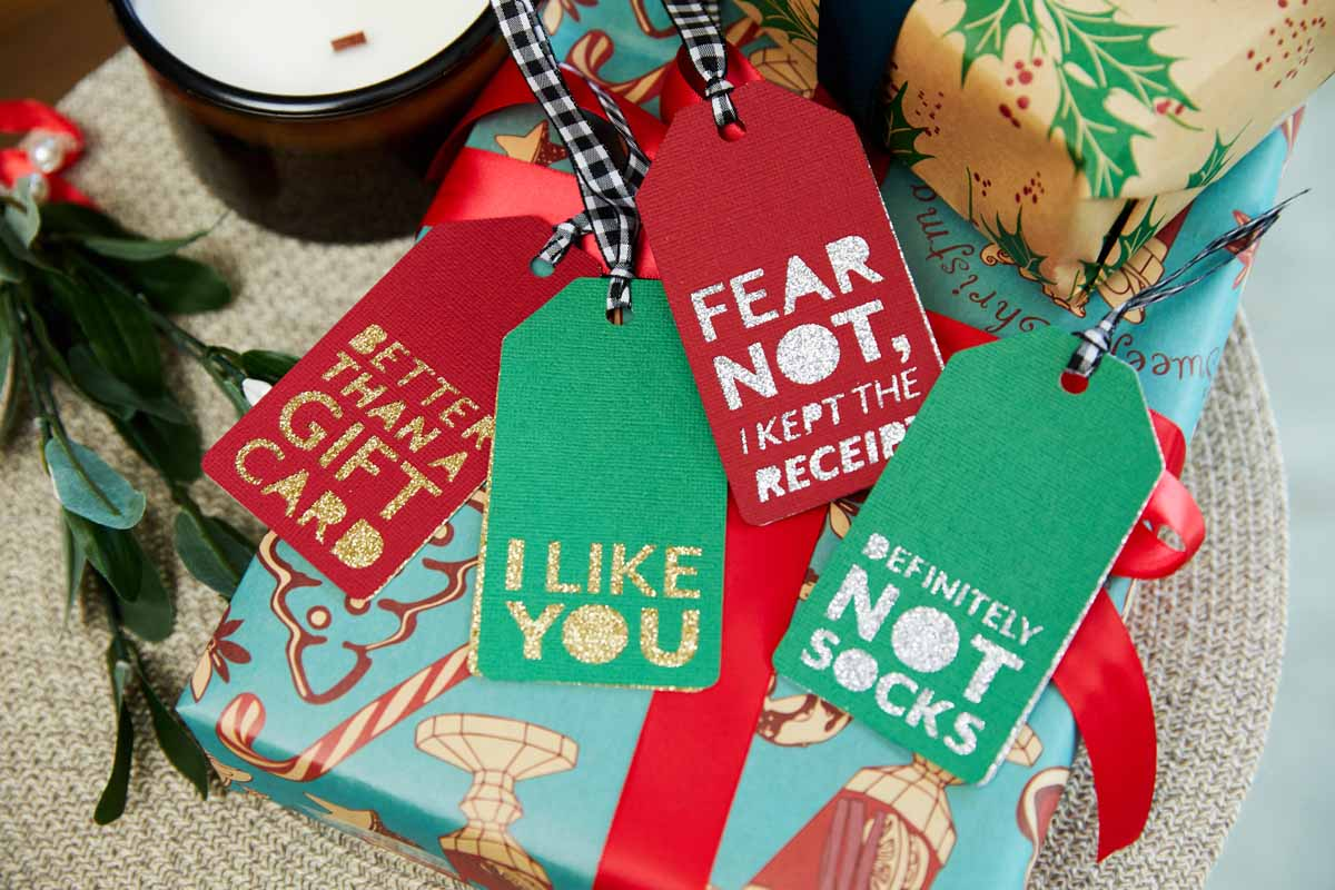 Custom created gift tags from Zooey Deschanel and Cricut