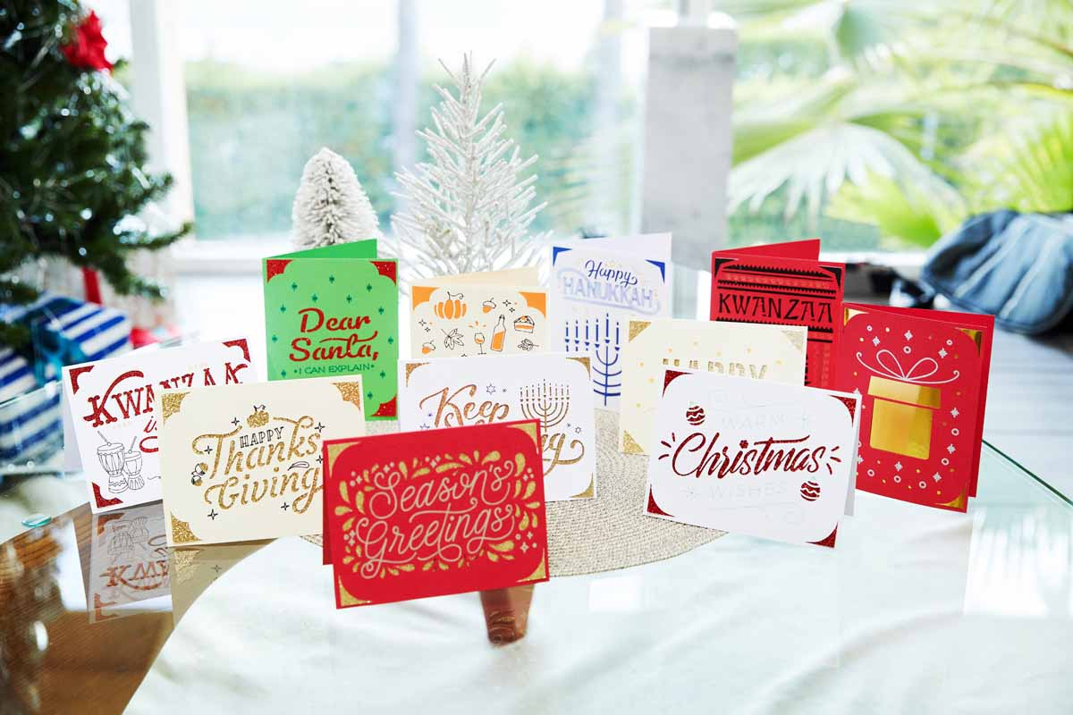 Holiday greeting cards from Zooey Deschanel and Cricut