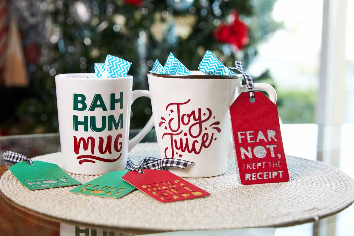 Personalized holiday mugs from Zooey Deschanel and Cricut