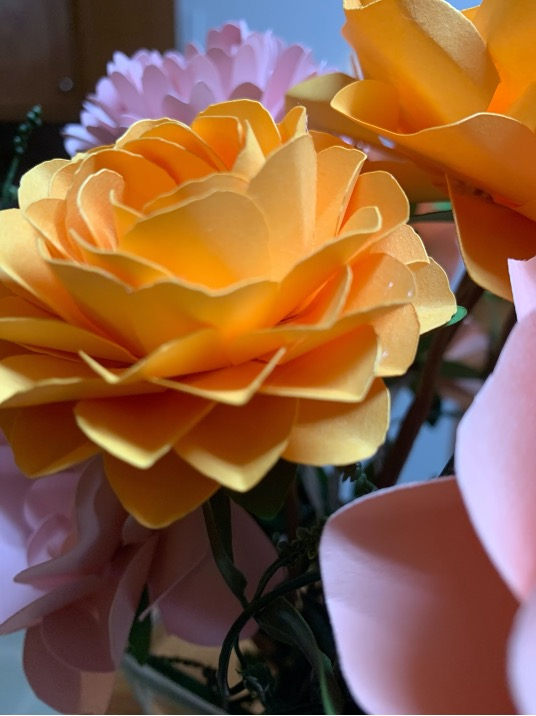Close up of a paper flower bouquet