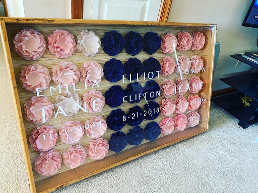 Paper flower shadow box
