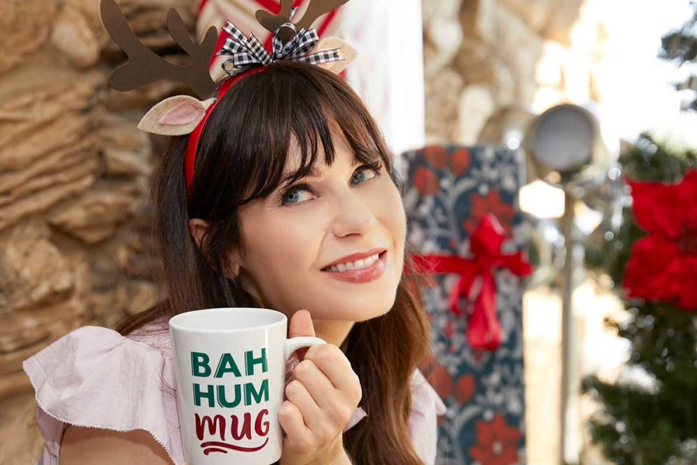 Zooey Deschanel in her #CricutMade projects and mug