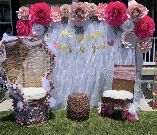 Baby shower paper flower arrangement