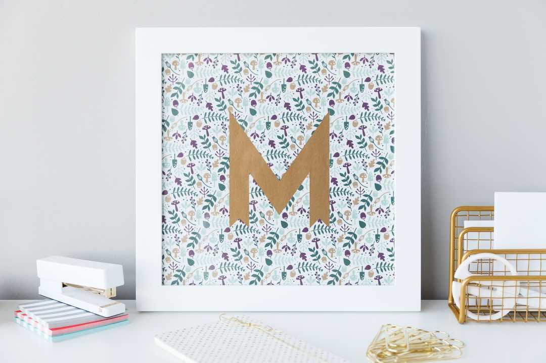 Cricut projects, monogramed M wall art