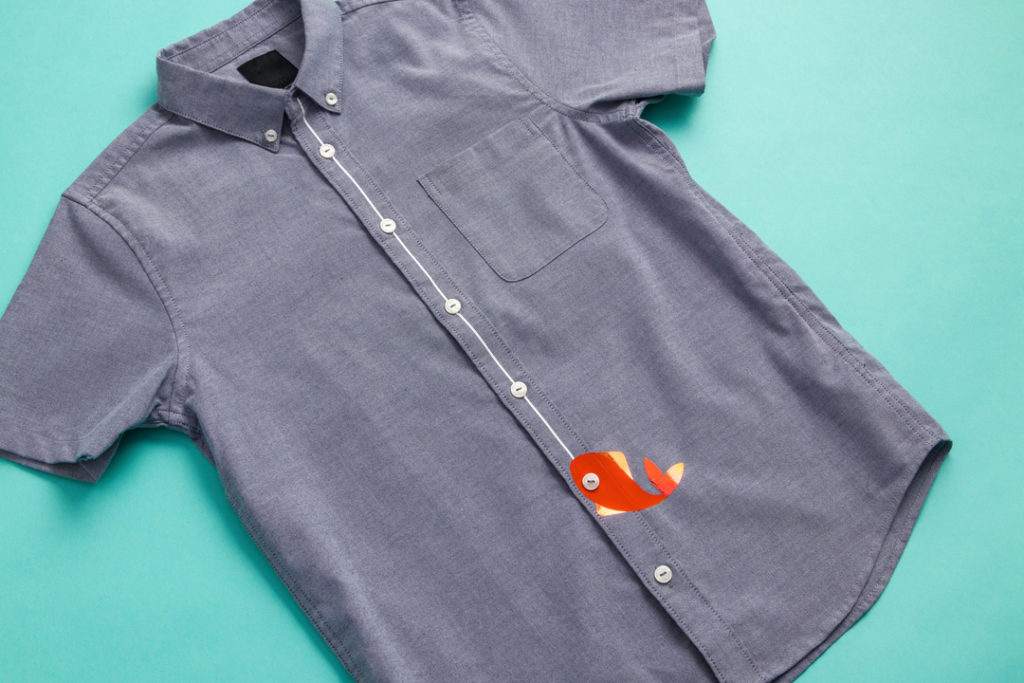 Cricut projects, fishing line button-up shirt