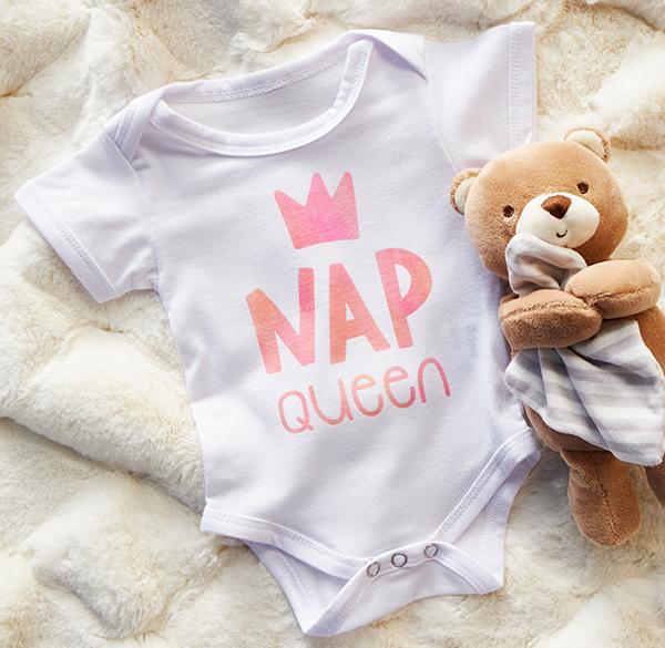 Cricut projects, nap queen baby onesie