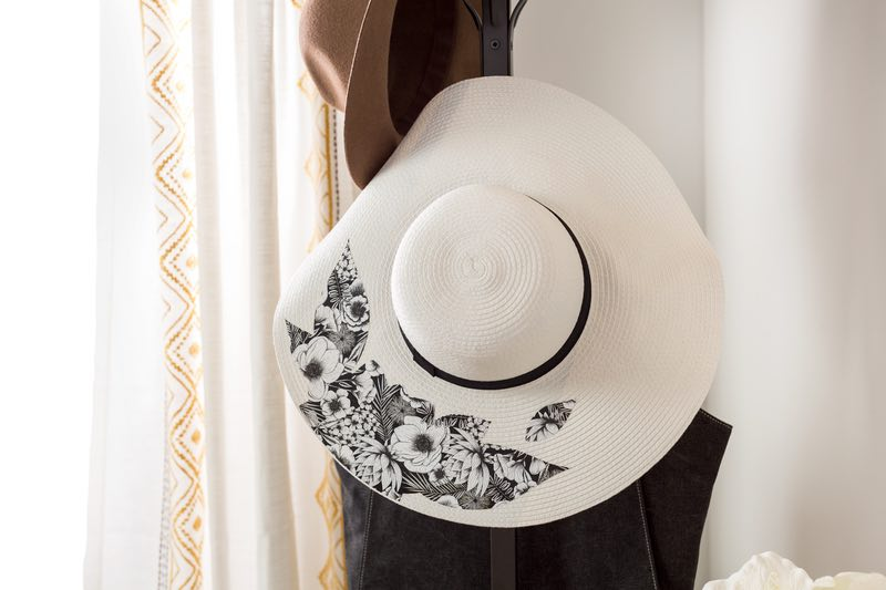 Cricut projects, black and white floral garden or sun hat