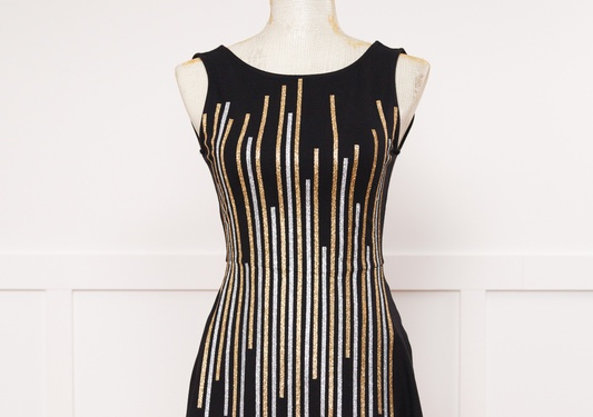 Cricut projects, gold and silver striped New Year's black dress