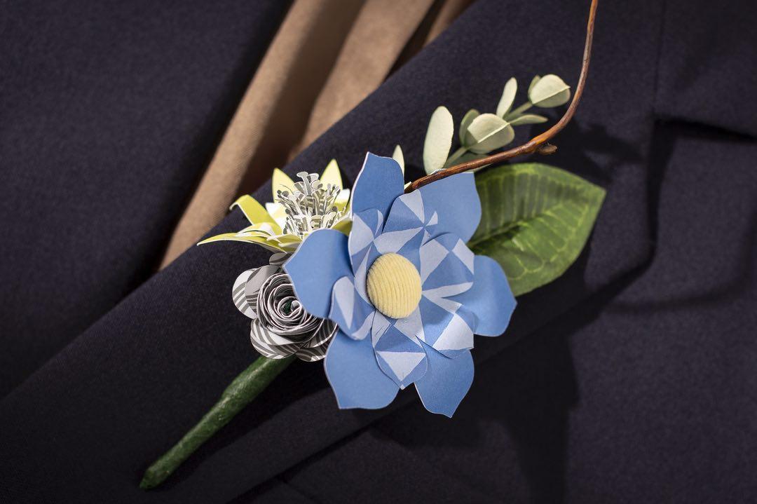 Cricut projects, paper flower bouttoniere