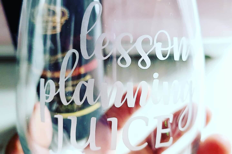 Vanessa Teran Custom Etched Wine Glass