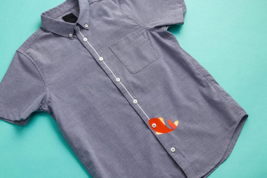 Cricut projects, fishing line button-up shirt
