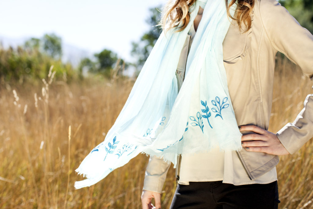Cricut projects, glitter floral scarf