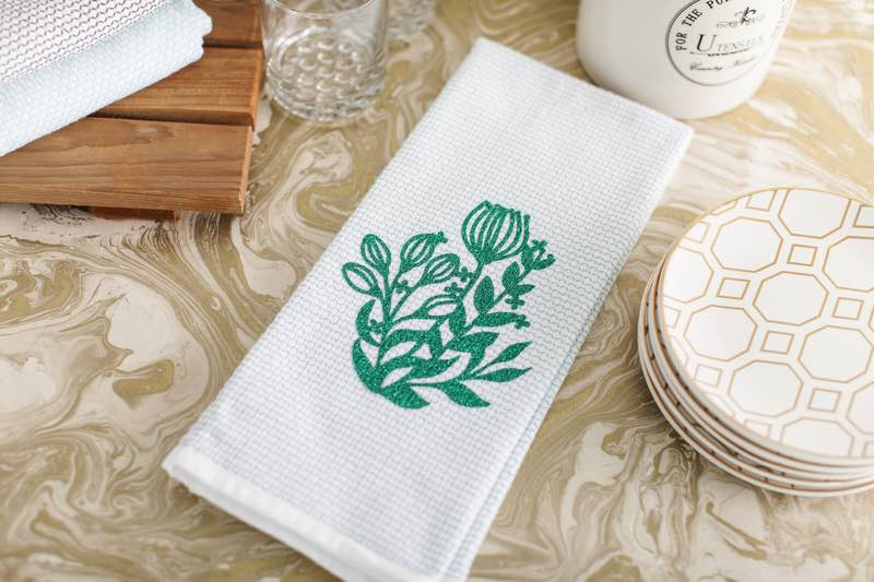 Cricut projects, floral tea towel with sparkly iron-on