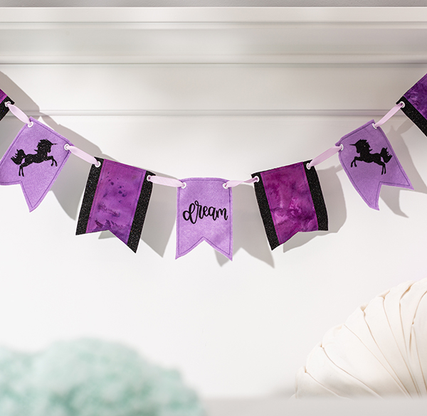 Cricut projects, unicorn dream party banner with iron-on