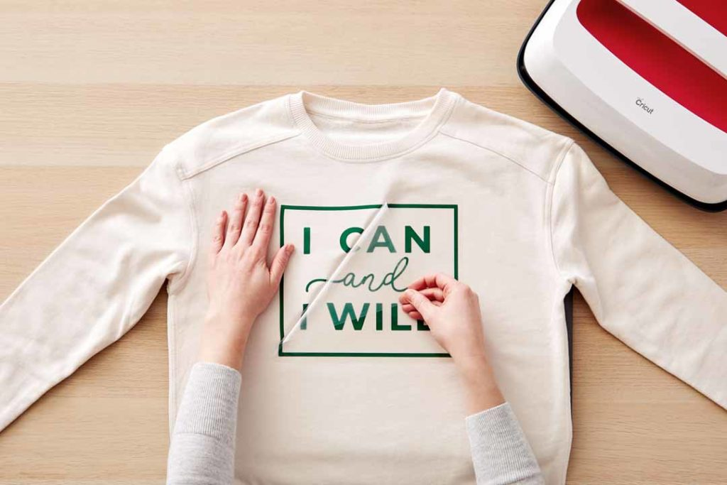 """I Can I Will"" iron-on shirt with Cricut"