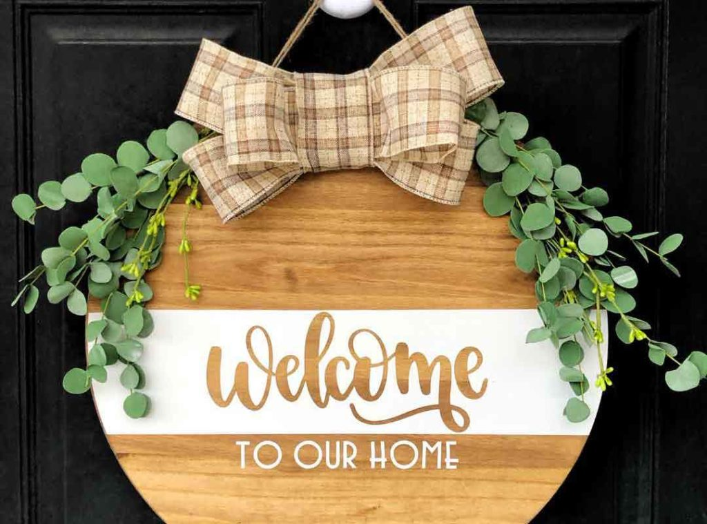 Wood Round Sign for your front door