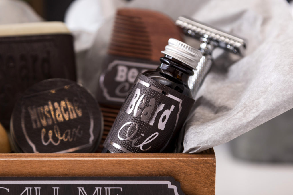 Box of men's grooming products