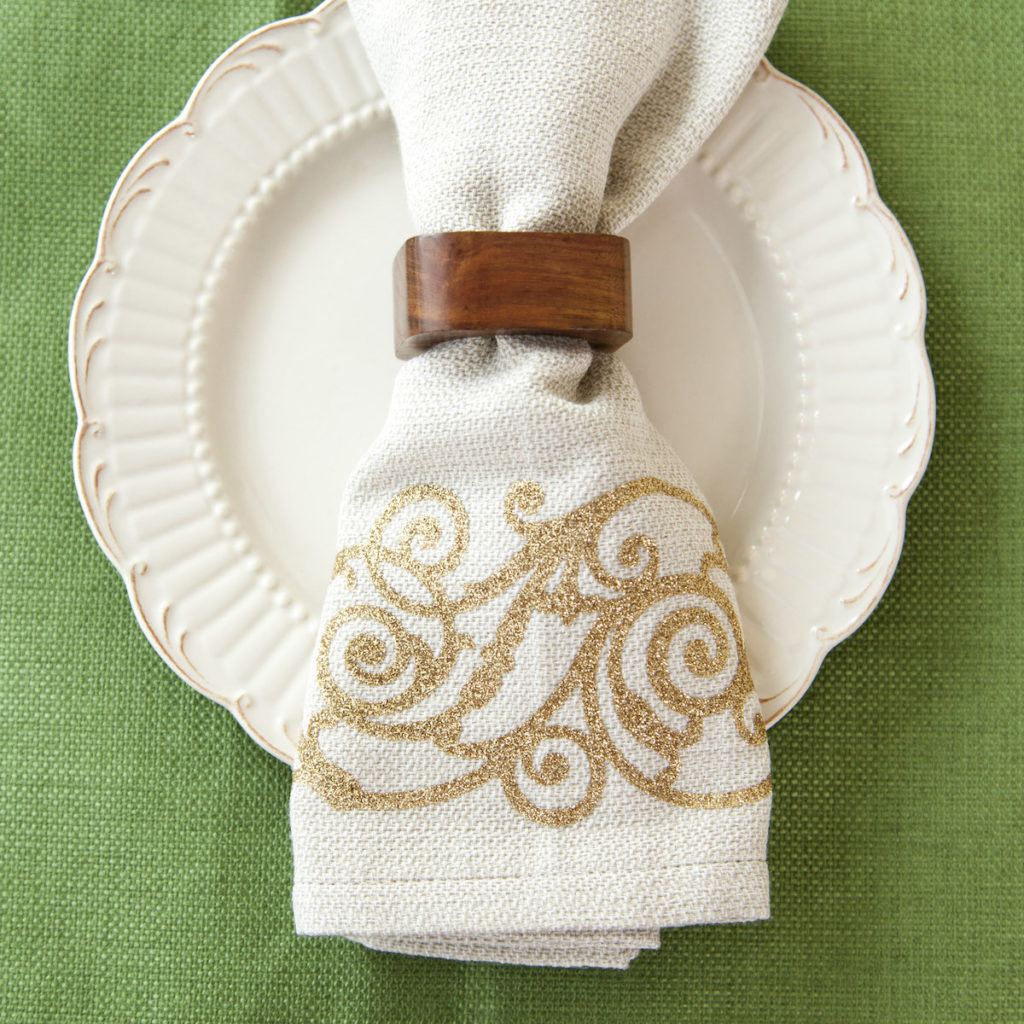 Napkin with wood ring